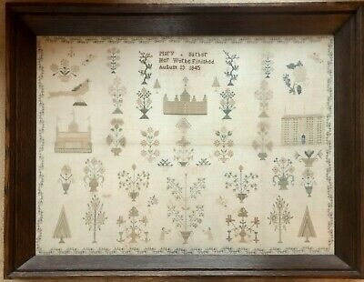 Large Antique Victorian Spot Motif  Sampler. Oak frame.Barber 1845.