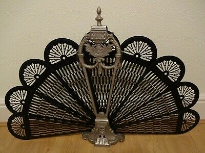 REPRODUCTION SILVER AND BLACK PEACOCK, FOLDING FAN, FIRE SCREEN, REPAIR REQ'd.