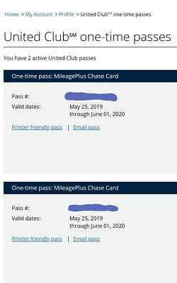 Two (2) United Airlines Club Lounge One-Time Passes EXPIRES June 1, 2020.
