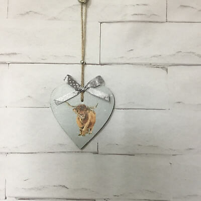 Highland Cow Wooden Hanging Heart Handmade Decoupage Vintage Shabby Chic Gift