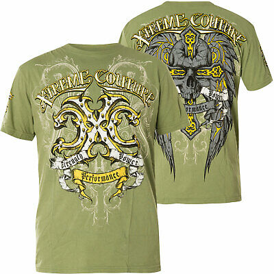 Xtreme Couture by Affliction Short Sleeve T-Shirt Mens THOR Green Yellow Gray