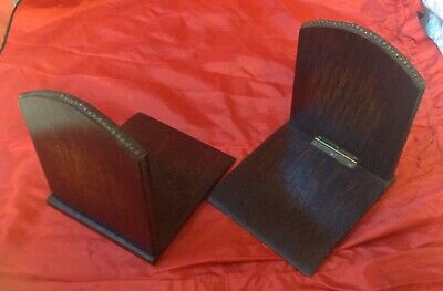 Antique Edwardian Set Of Oak Beaded Book Ends, Folding With Brass Hinges