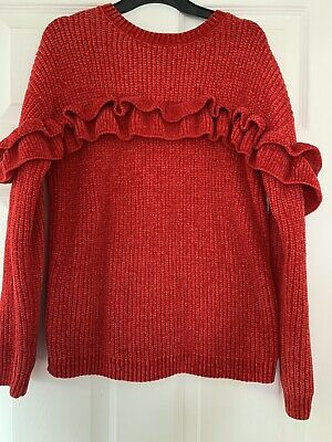 Lovely Girls Red Chunky Chenille Jumper By Primark Age 10-11 Great Condition!