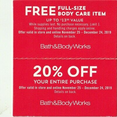 Bath&Body Works 20%Off Purchase/Body Care Item Coupons Through 12/24/19