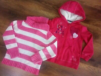 Girls 2x jumpers hooded zip up top winter set 6-7 years good condition