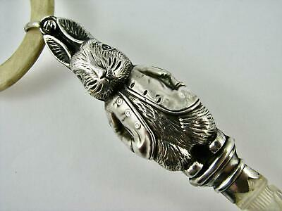 VERY RARE English Peter Rabbit Sterling Silver Baby Teething Rattle 1933 HM VGC