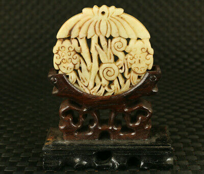 chinese old Jade Hand Carved bamboo statue pendant netsuke collect noble gift
