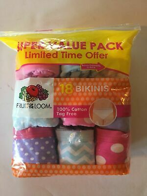 Fruit of the Loom Girls Size 8  Value Pack 18 Bikini Tag Free Underwear NEW