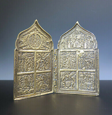 Antique 2 Panel Russian Gilt Brass Skladen Travel Icon