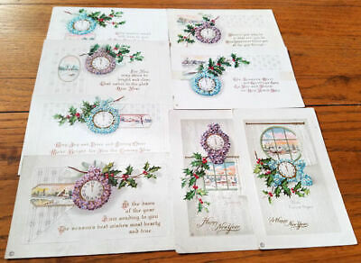 Lot of 7 Old New Year Postcards All With Clock & Violets or Forget-Me-Nots-Sets