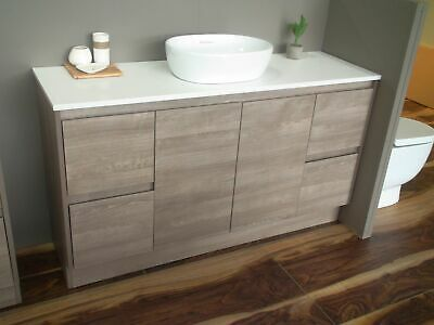 Melbourne 1500 Wooden Bathroom Vanity Single Flat Stone Top Bv16, Basin Excluded