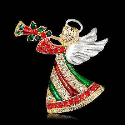 Christmas Angel Rhinestone Crystal Gold Plated Pin and Brooch