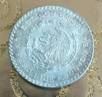 1964 Mexico Silver One Peso Coin