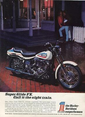 Harley Davidson Motorcycle Print Ad Super Glide Fx Call It The Night Train-Decor