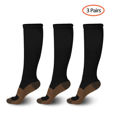 (3 Pairs) Copper Compression Socks 20-30mmHg Graduated Support Mens Womens S-XL