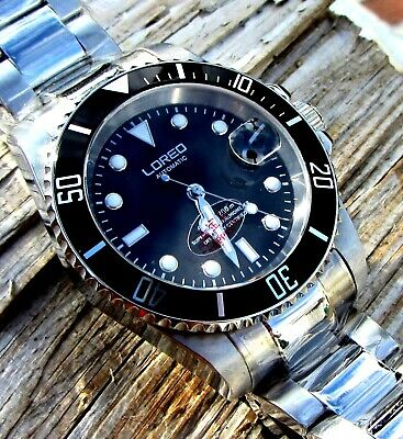 LOREO BLACK SUBMARINER, AUTOMATIC OYSTER BAND MAG DATE 200m