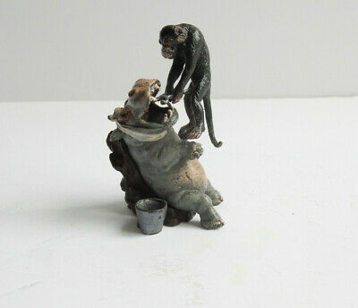 BERGMAN Bronze Hippo Tooth Extraction by Monkey Bronze Namgreb Austria