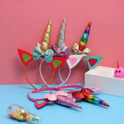Chiffon Party Easter Tiara Bow Hair Band Baby Flower Headband Unicorn Horn Ear