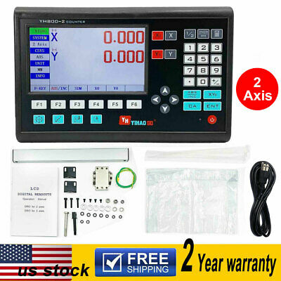 2 Axis Digital Readout LCD DRO TTL Linear Glass Encoder for Milling Lathe 5μm US