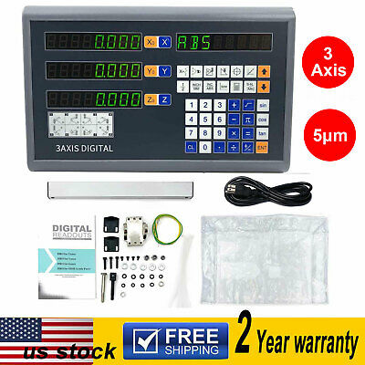 3 Axis Digital Readout DRO TTL Linear Glass Encoder for Milling Lathe Machine US