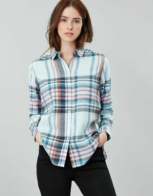 Joules AW19 Lorena Longline Brushed Woven Shirt in Blue Check