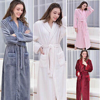 Romantic Couples Flannel Long Bathrobe Winter Warm  Sleepwear Robe Housecoat US