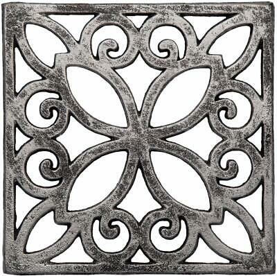 Decorative Cast Iron Trivet For Kitchen Or Dining Table | Square with Vintage Pa