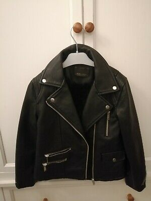 Zara Black Faux Leather Jacket Girls Age 8-9 Years