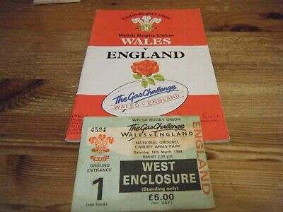 18.03.1989      WALES  v  ENGLAND   PROGRAMME  AND  TICKET    CARDIFF ARMS  PARK