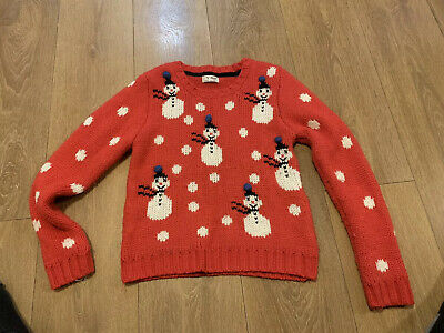 NEXT Girls 9-10 Age Years Christmas Jumper Snowman very warm