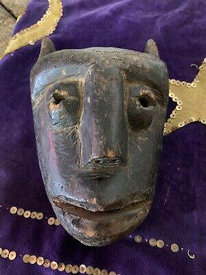 Antique Vintage Bamana Kore Society Carved African Wooden Mask Zoomorphic