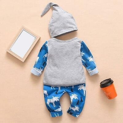 3pcs/set Baby Boys Girls Long Sleeve Christmas Printing Tops+Pants+Hat Suit