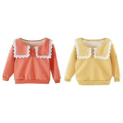 Baby Girl Kids Fleece Stitching Clothes Cute Lace Long-Sleeves Sweatershirt