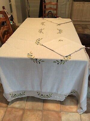 Extra Large 12 Seater Table Cover & Napkins Colour Beige Linen