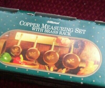 Set Of 4 Copper Measuring Pans With Brass Handles