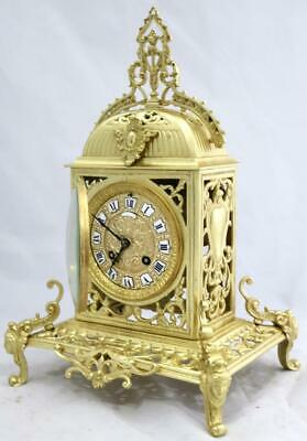 Antique French Mantle Clock Bronze Pierced Cubed Shape 8Day 1880's Bell Striking