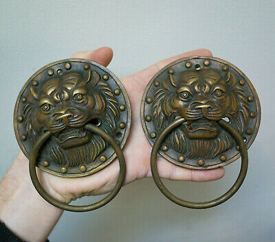 "2x Chinese Copper Tiger Head Door Knocker Pull Furniture Handle Diameter 4"" 10cm"
