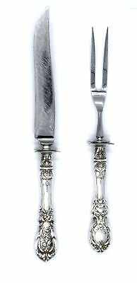 Antique Reed & Barton Francis I Two Piece Carving Set Knife Fork Sterling Silver