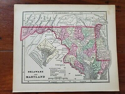 1856 Antique Hand Colored Engraved Map Of Delaware & Maryland