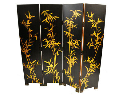 Vintage Asian Inspired Four Panel Screen/ Room Divider