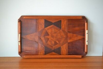 Vintage Art Deco wooden inlay tray serving tray wood