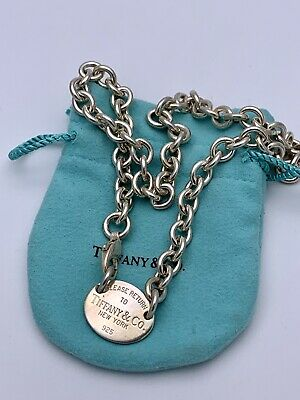 """Authentic Tiffany&co Sterling Silver Oval Tag Chain Choker Necklace 16"""""""