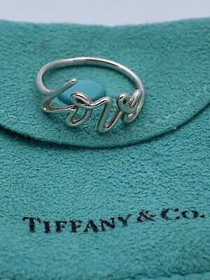 Authentic Tiffany&co Sterling Silver Paloma Picasso Grafitti Love Ring Size 7.75