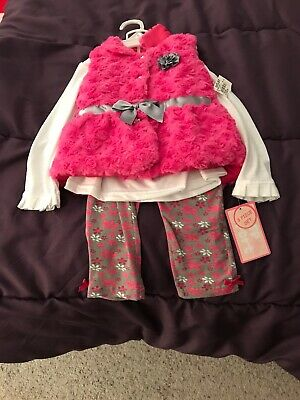 3T Girls 3 Piece Outfit By FP Sport Pink Fur Vest Leggings Long Sleeve$marked⬇️