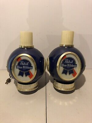 """Vintage Pair """"Pabst Blue Ribbon Beer"""" Wall Sconce Bar Sign Light"""