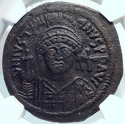 JUSTINIAN I the GREAT Ancient Constantinople Follis Byzantine Coin NGC i81911