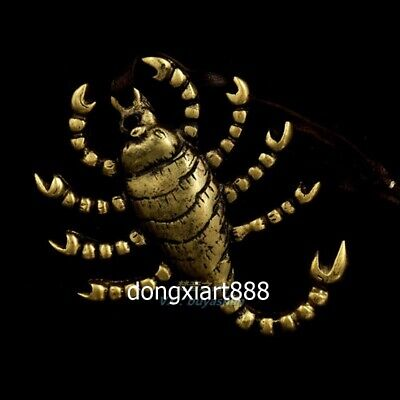 Tibet Pure Copper Buddhism jewelry scorpion insect Amulet Pendant Necklace