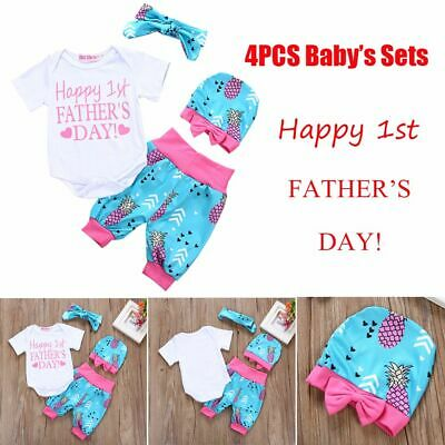 Clothing Bow Knot Tops+Pants+Headband+Hat Letter Pineapple Print Father's Day