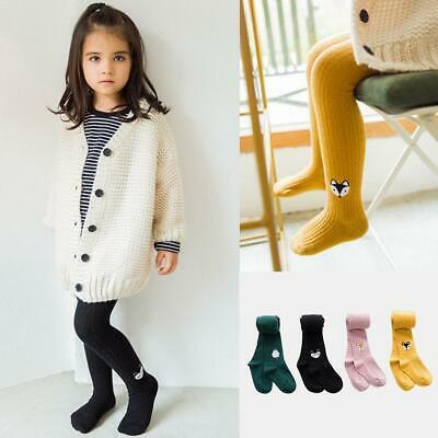Kid Girl Tights Cotton Pantyhose Knit Cartoon Pattern Embroidery