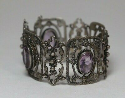 Peruzzi Sterling Silver and Amethyst Floral Panel Bracelet Signed Rare